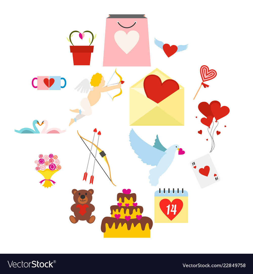 Valentines flat icons set
