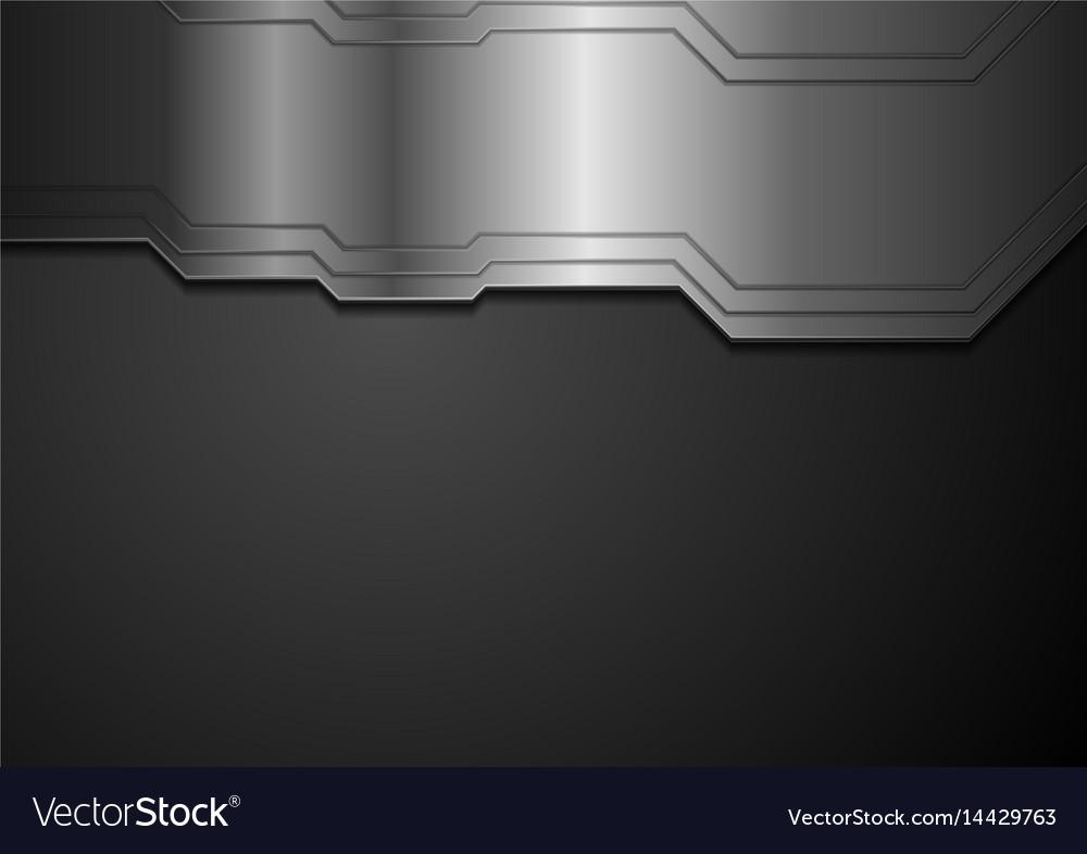 Abstract tech metallic black background vector image