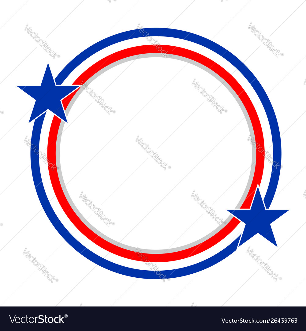 Abstract usa flag round frame vector