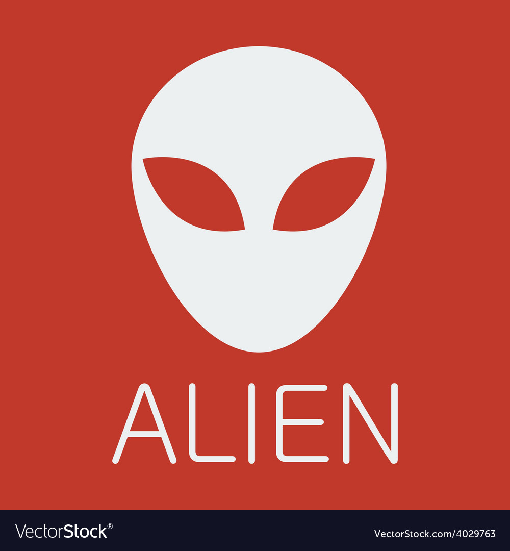 Alien on red background