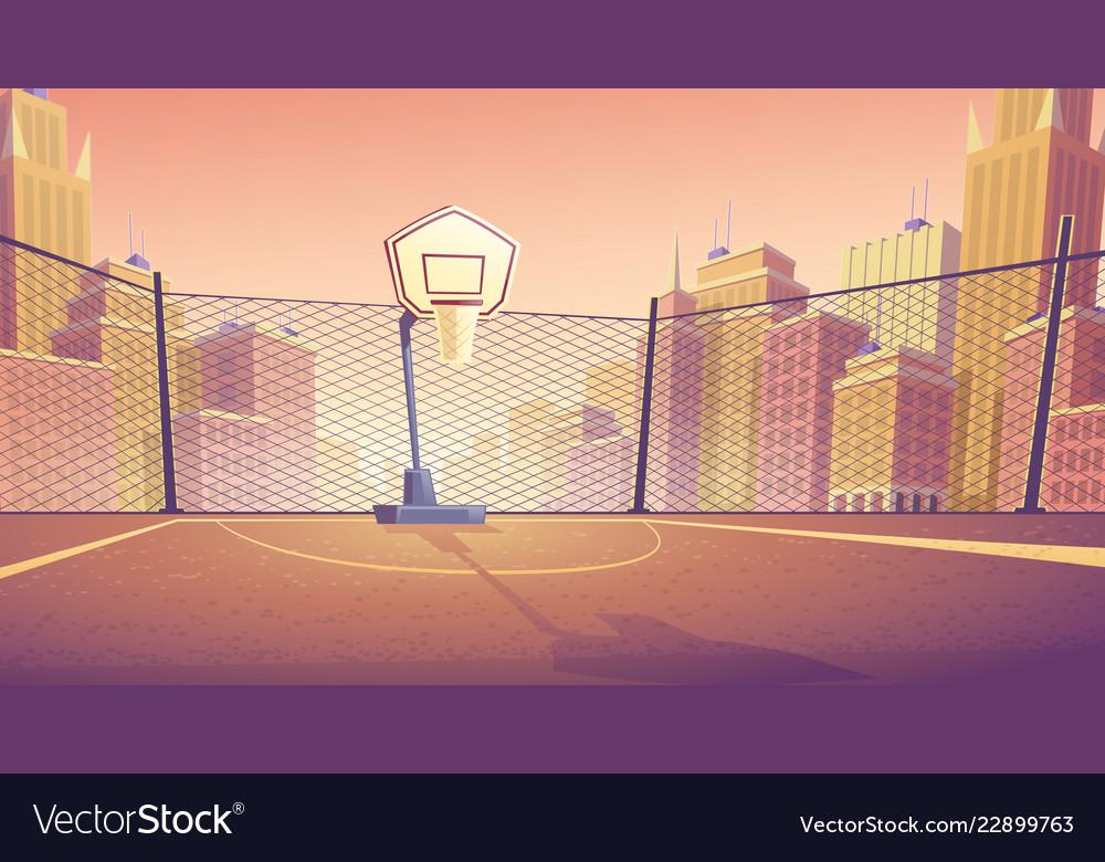 Cartoon background street basketball