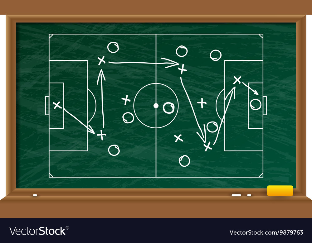 Chalk board with football game field