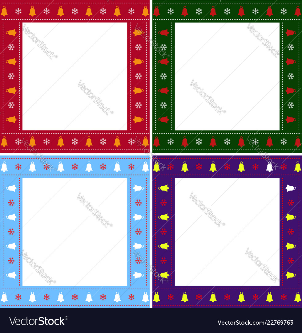 christmas or new year multiciolored border set on vector image