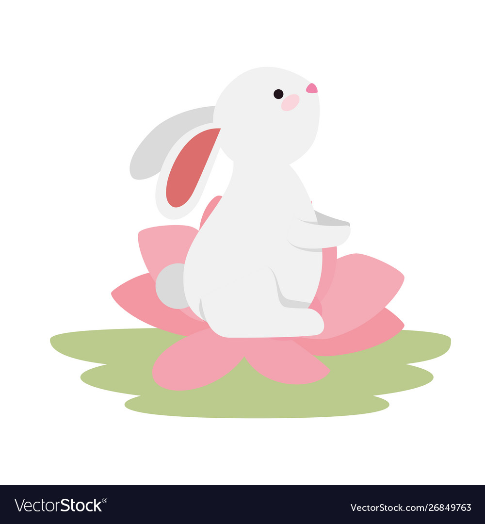 Cute And Little Rabbit In Lotus Flower Character Vector Image