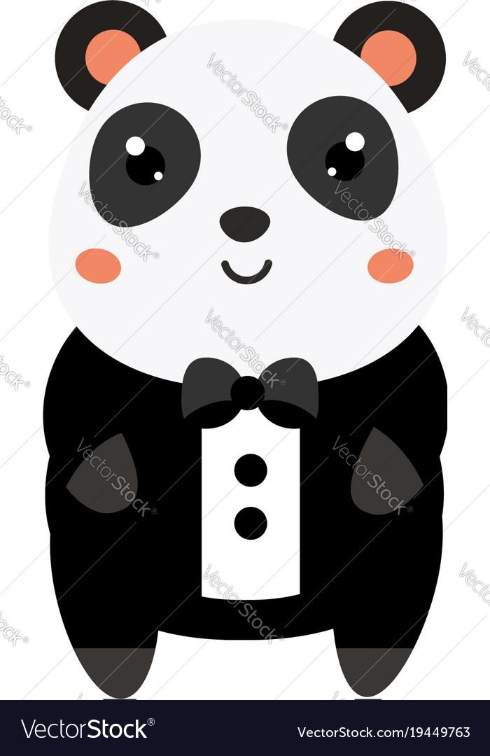 cute panda in black tuxedo cartoon kawaii animal vector image