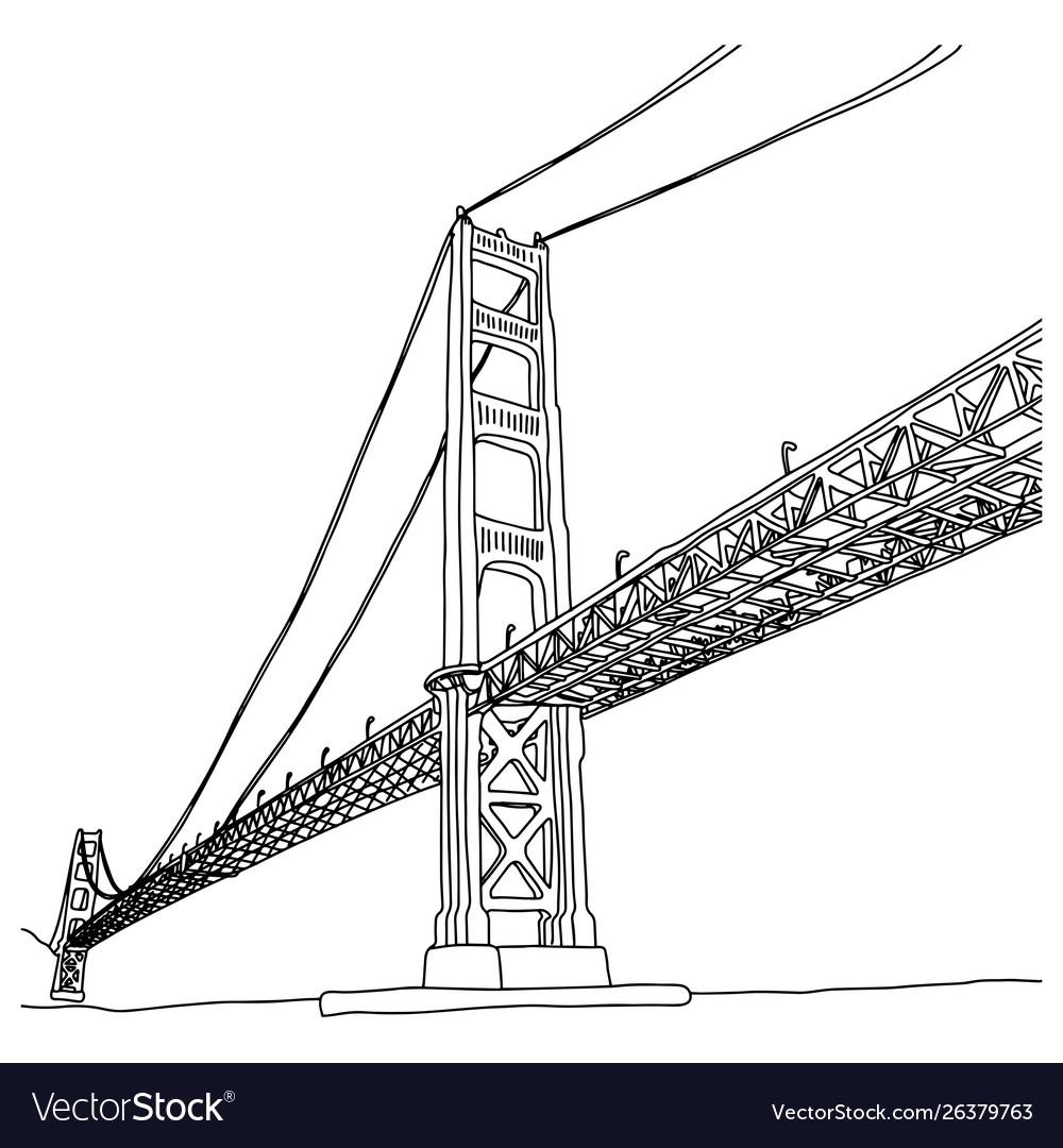Golden gate bridge sketch doodle