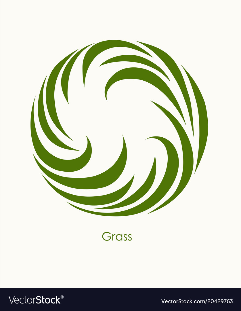 Grass label abstract design round icon beautiful