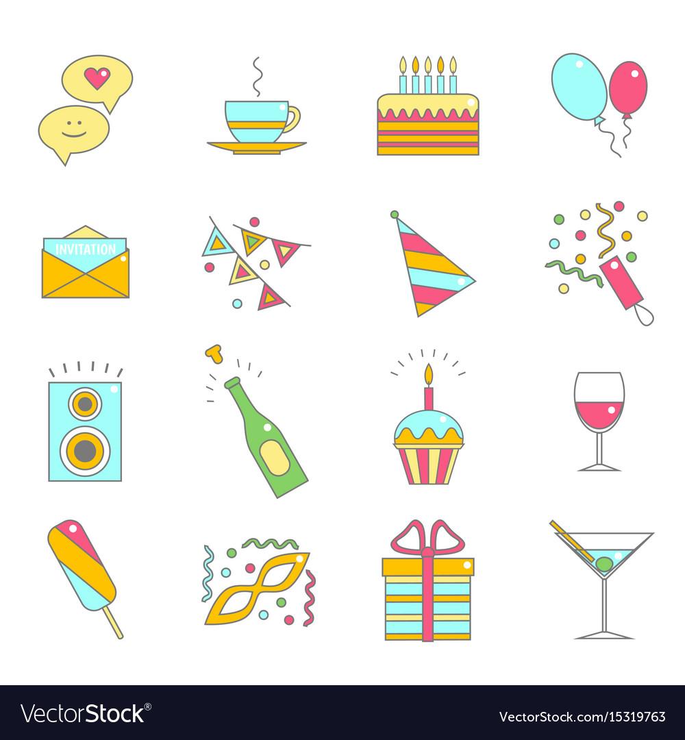 Party celebration color line icon set vector image
