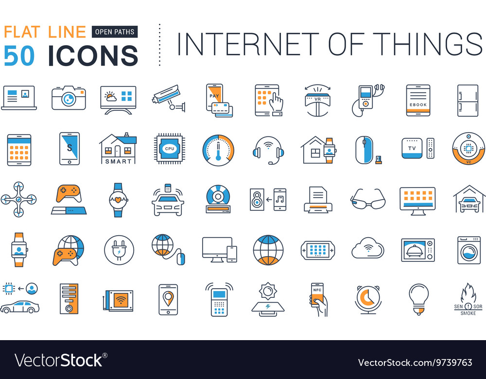 Set Flat Line Icons Internet of Things