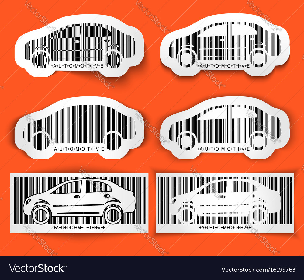 Set of labels barcode automotive isolated on
