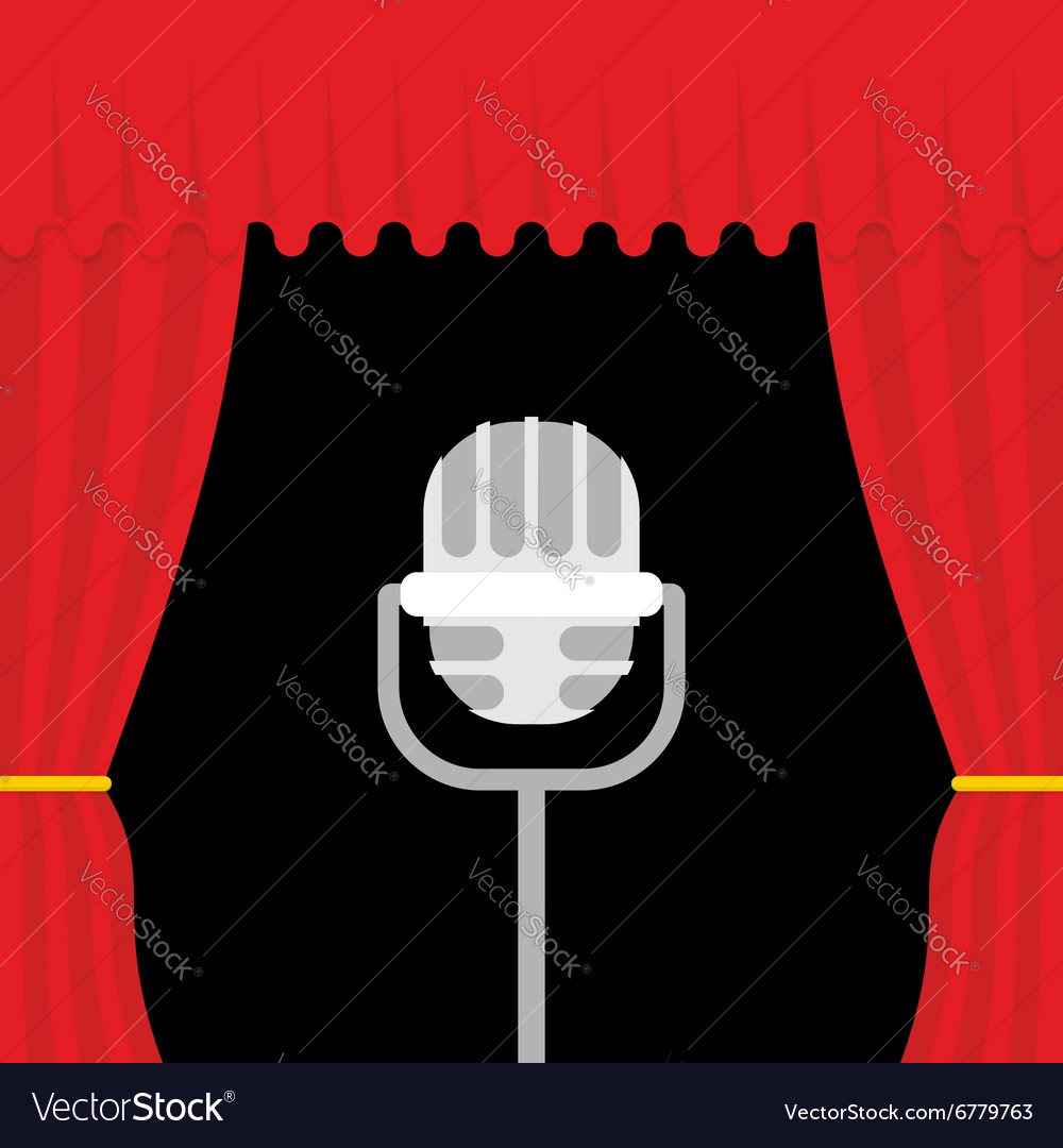 Stage with red curtain and retro microphone Open