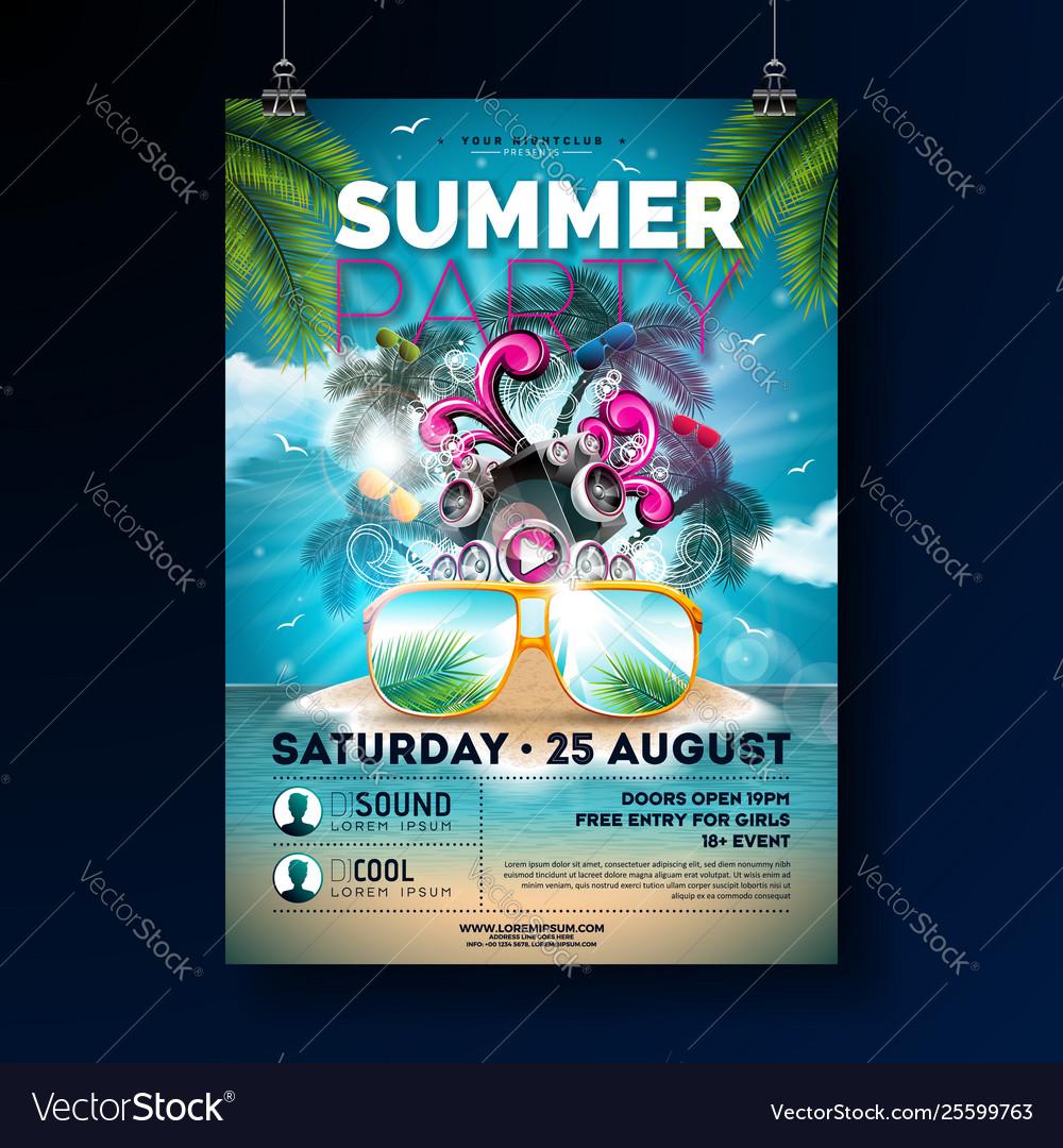 Summer beach party flyer design with flower beach