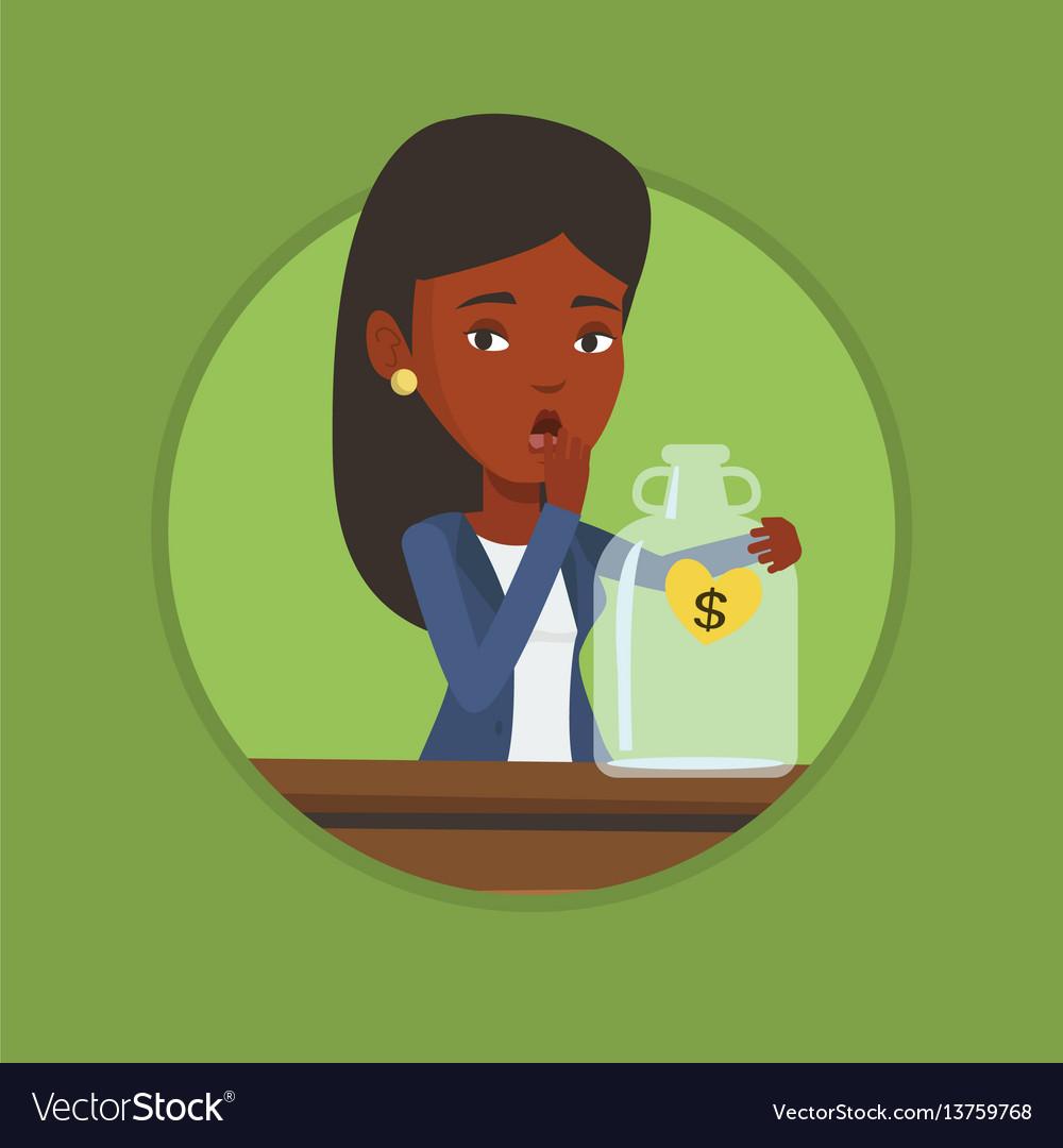 Bankrupt woman looking at empty money box