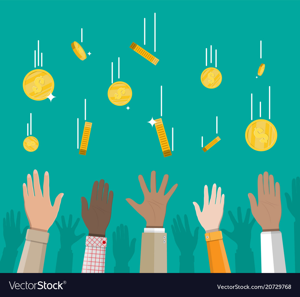 Falling gold coins and hands money rain vector image
