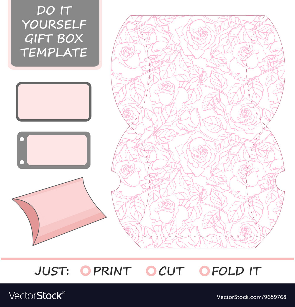 favor gift box die cut box template with rose vector image