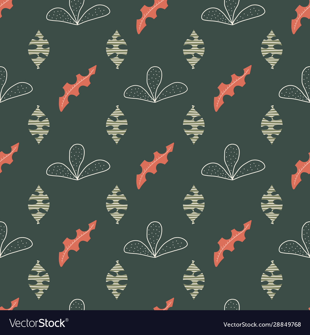 Geometric green and orange abstract leaves