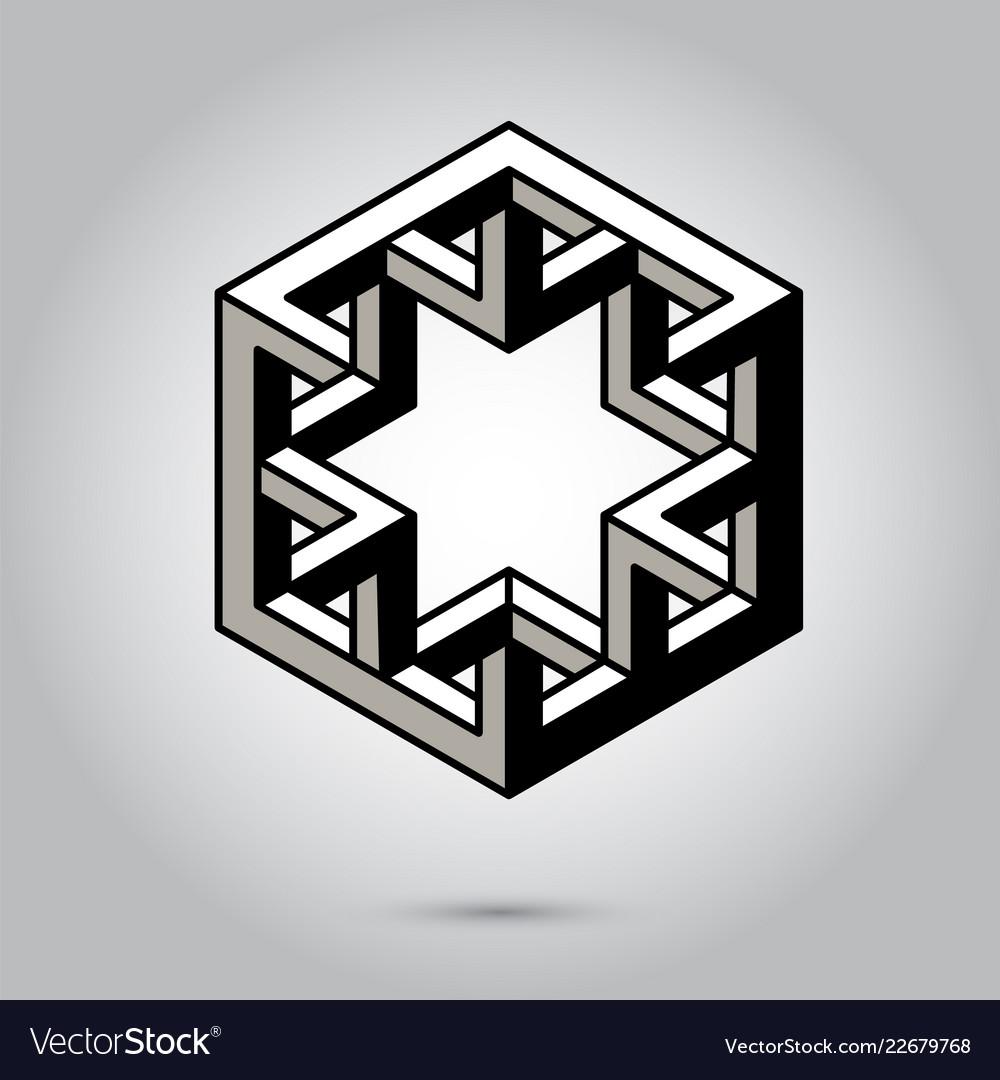 Impossible geometry symbols on grey