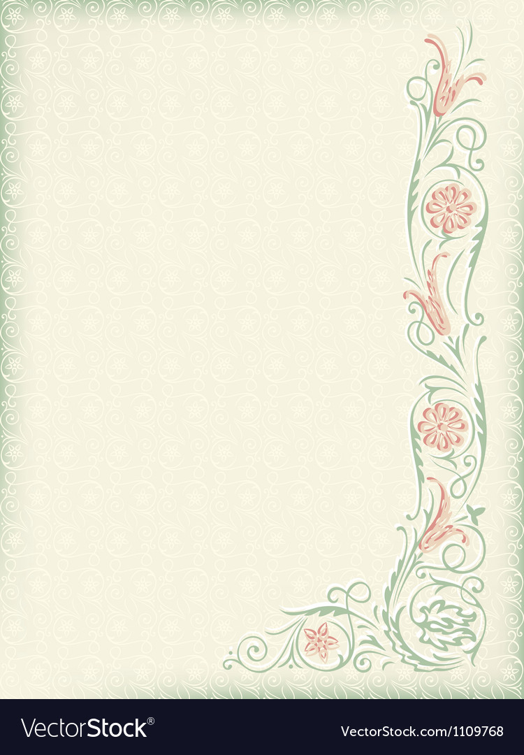 Ornamental floral wedding background vector image
