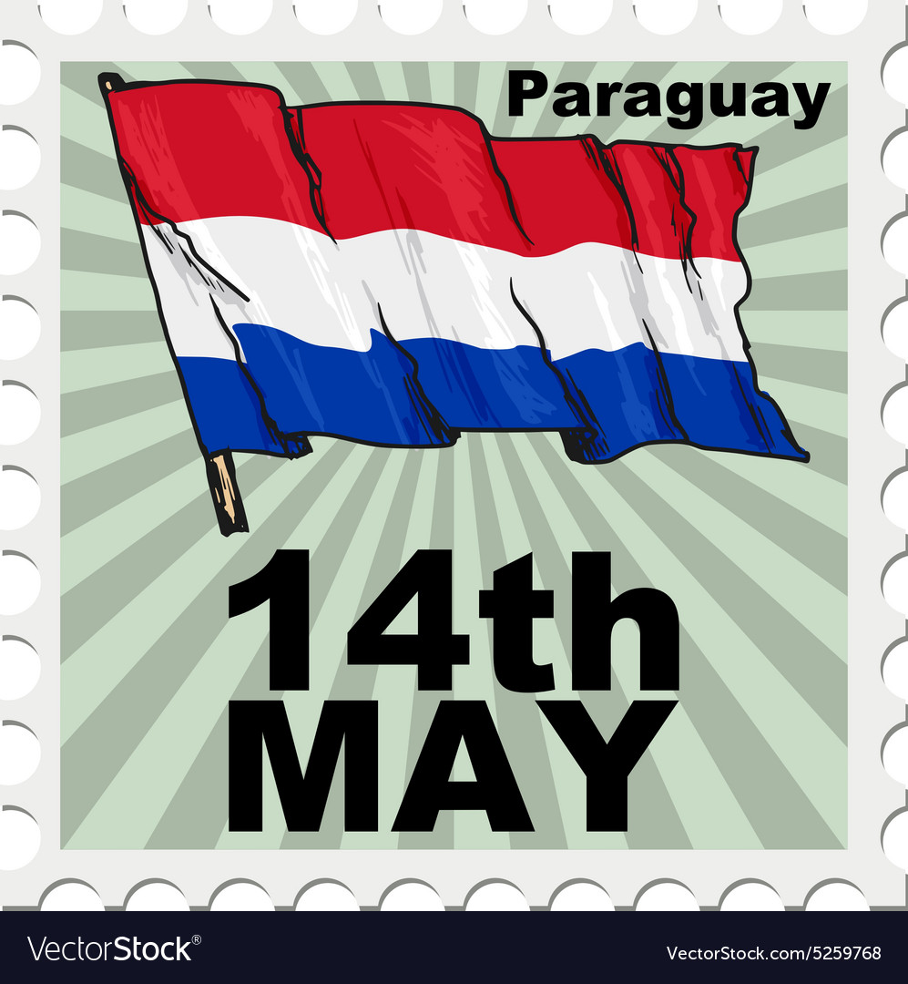 Post stamp of national day of Paraguay
