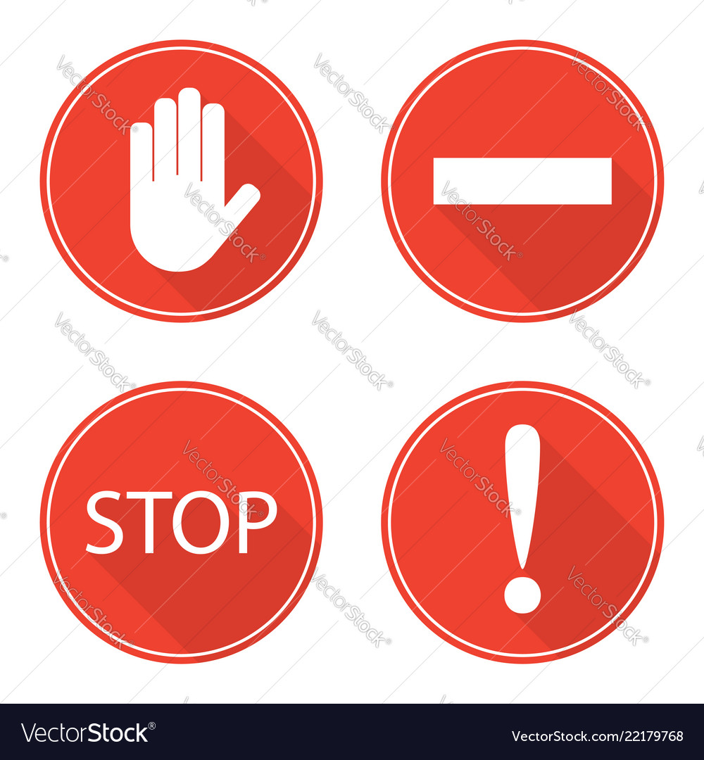 Red stop signs hand rectangle word stop and