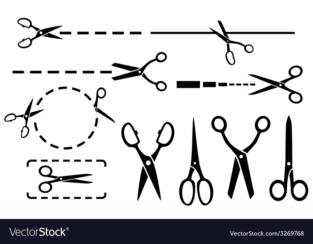 Scissors set with dotted line isolated