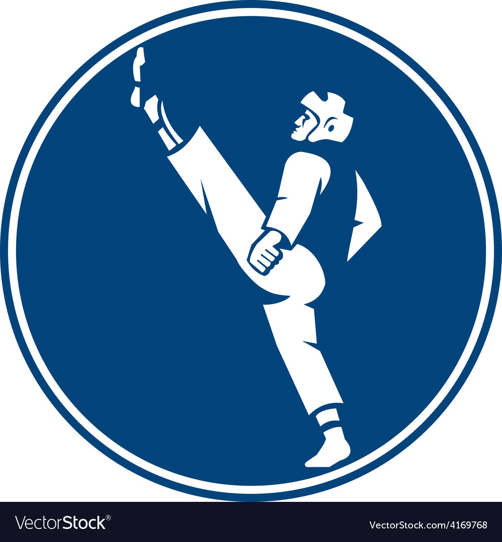Taekwondo Fighter Kicking Stance Circle Icon vector image