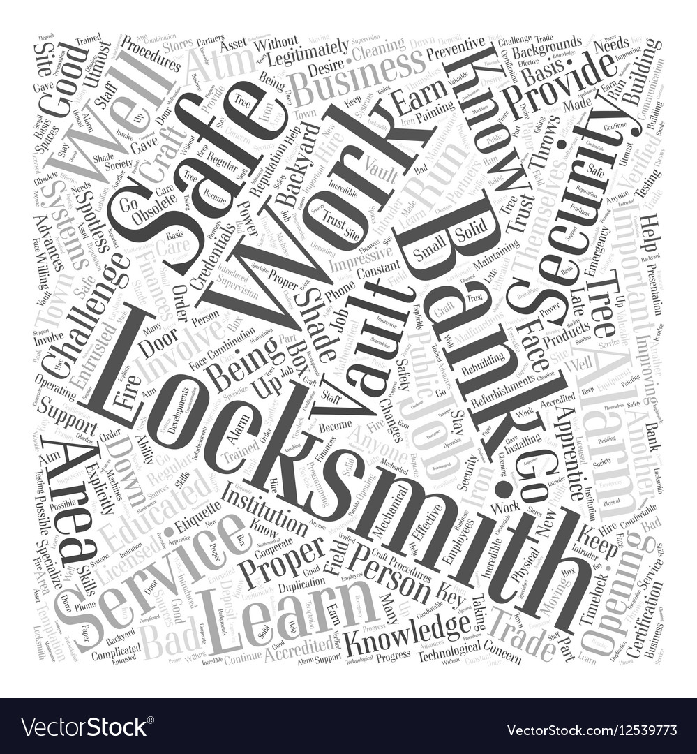 Bank Locksmiths Word Cloud Concept vector image