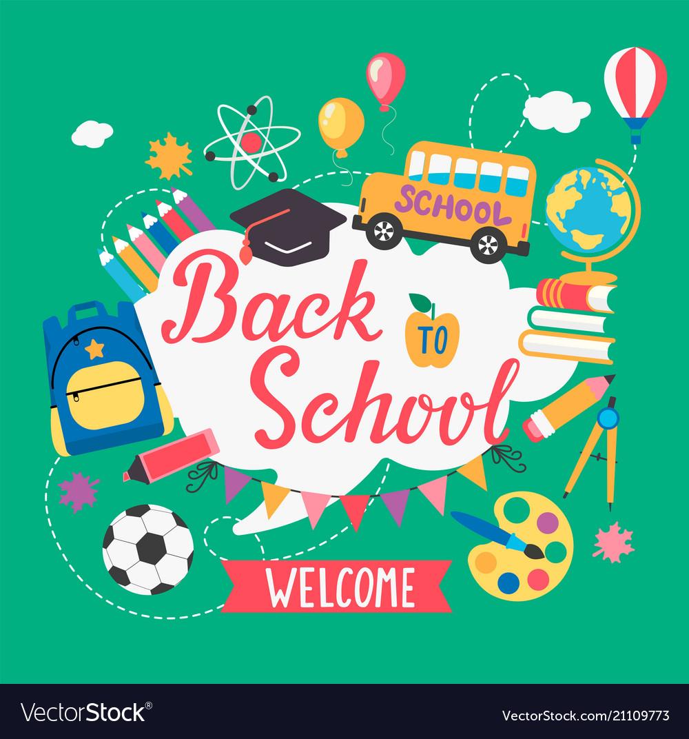Back to school vector. Banner welcome