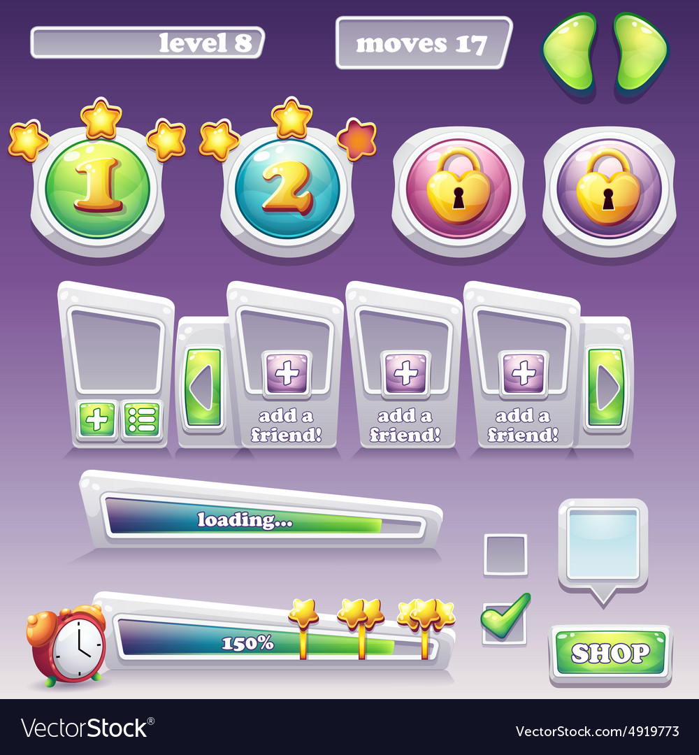 Big set of elements for computer games web design vector image