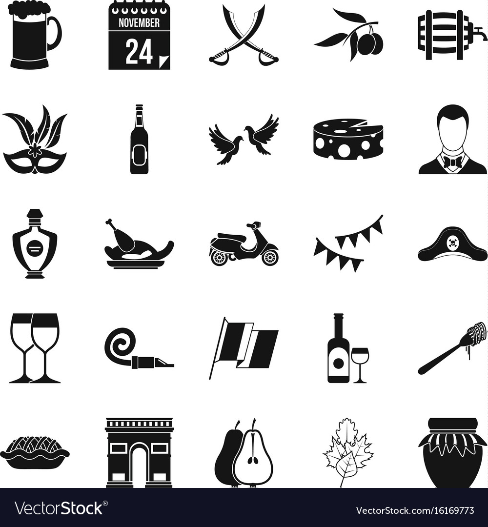 Binge icons set simple style vector image