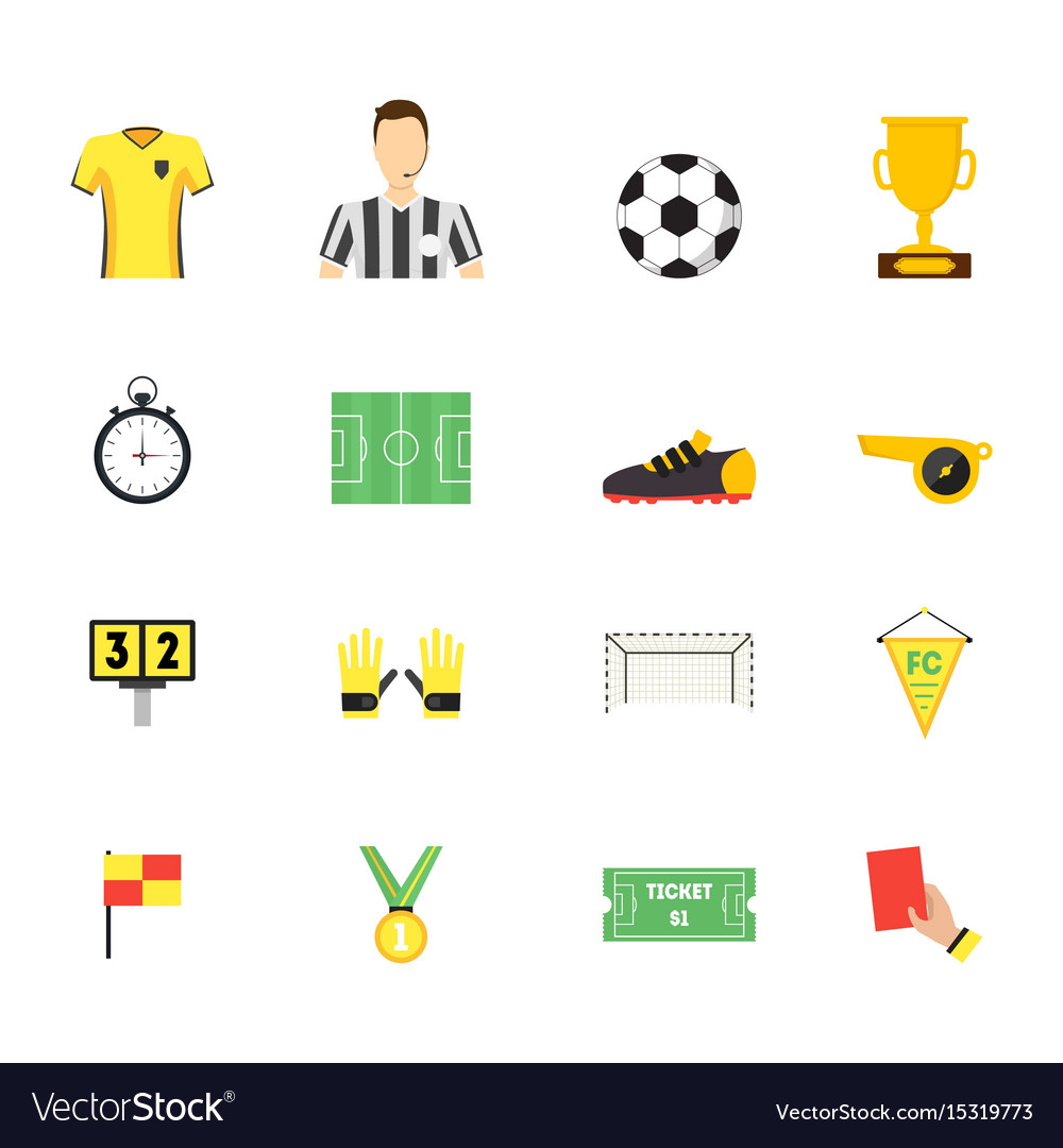 Cartoon soccer sport game color icons set