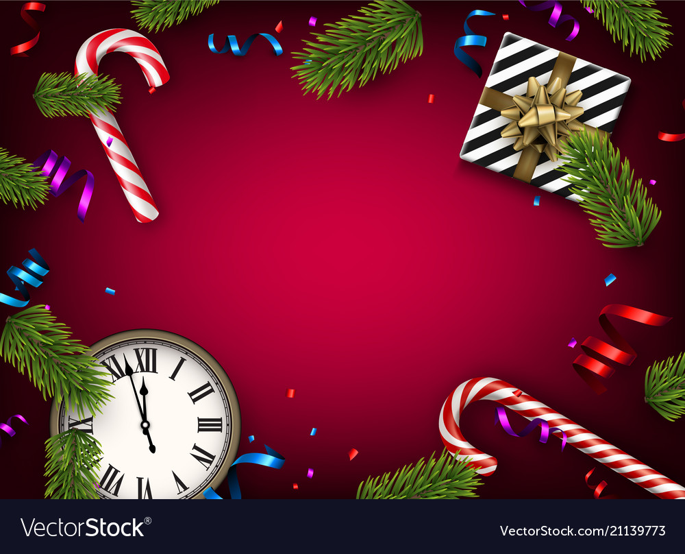 Christmas background with gift and clock