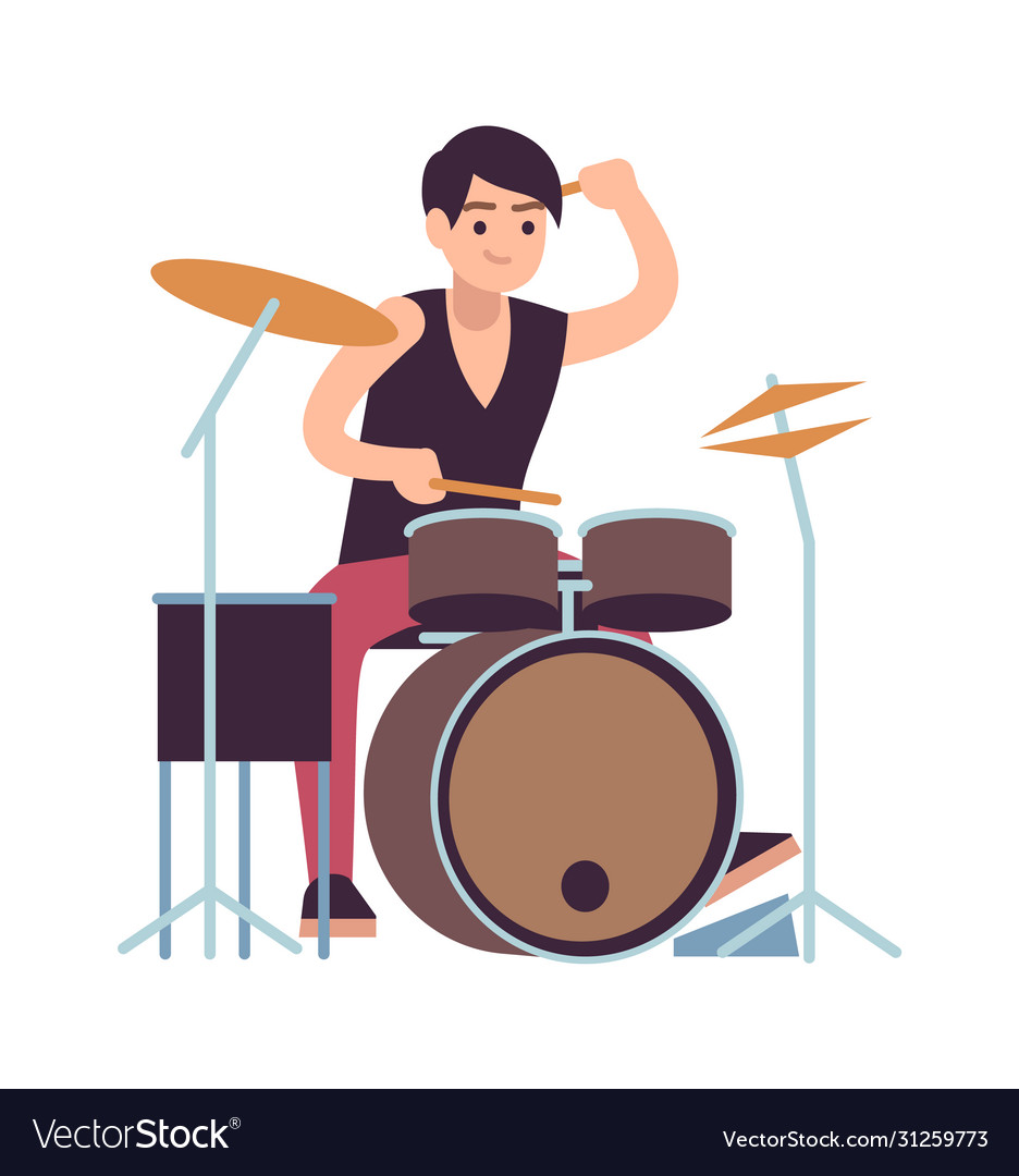 Drummer young man playing on drums