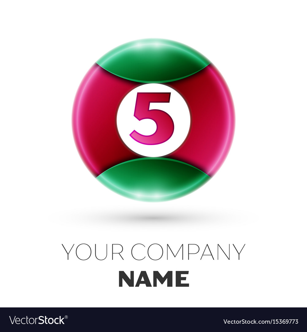 Realistic number five symbol in colorful circle