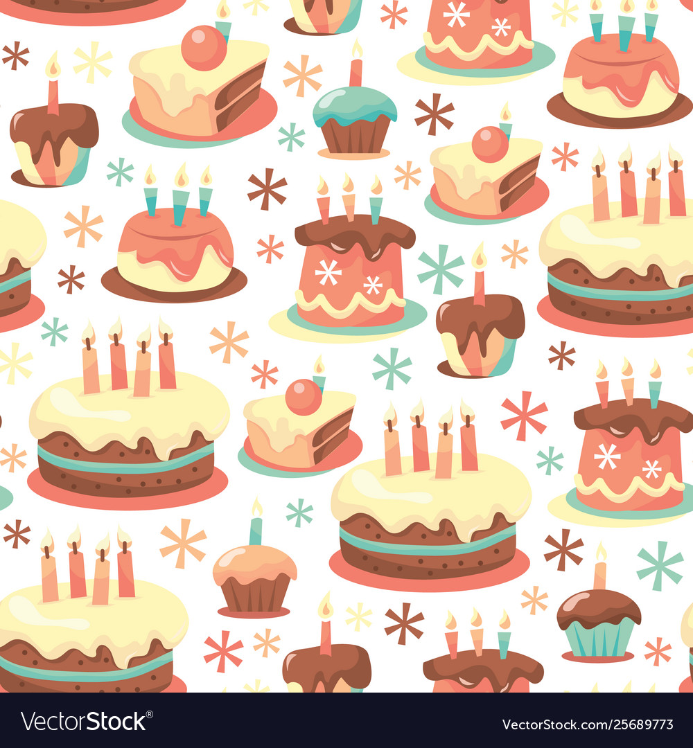 Brilliant Retro Birthday Cakes Seamless Pattern Background Vector Image Funny Birthday Cards Online Elaedamsfinfo