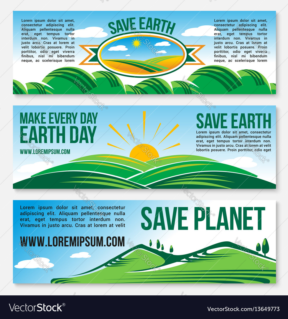 Save planet nature banners for earth day