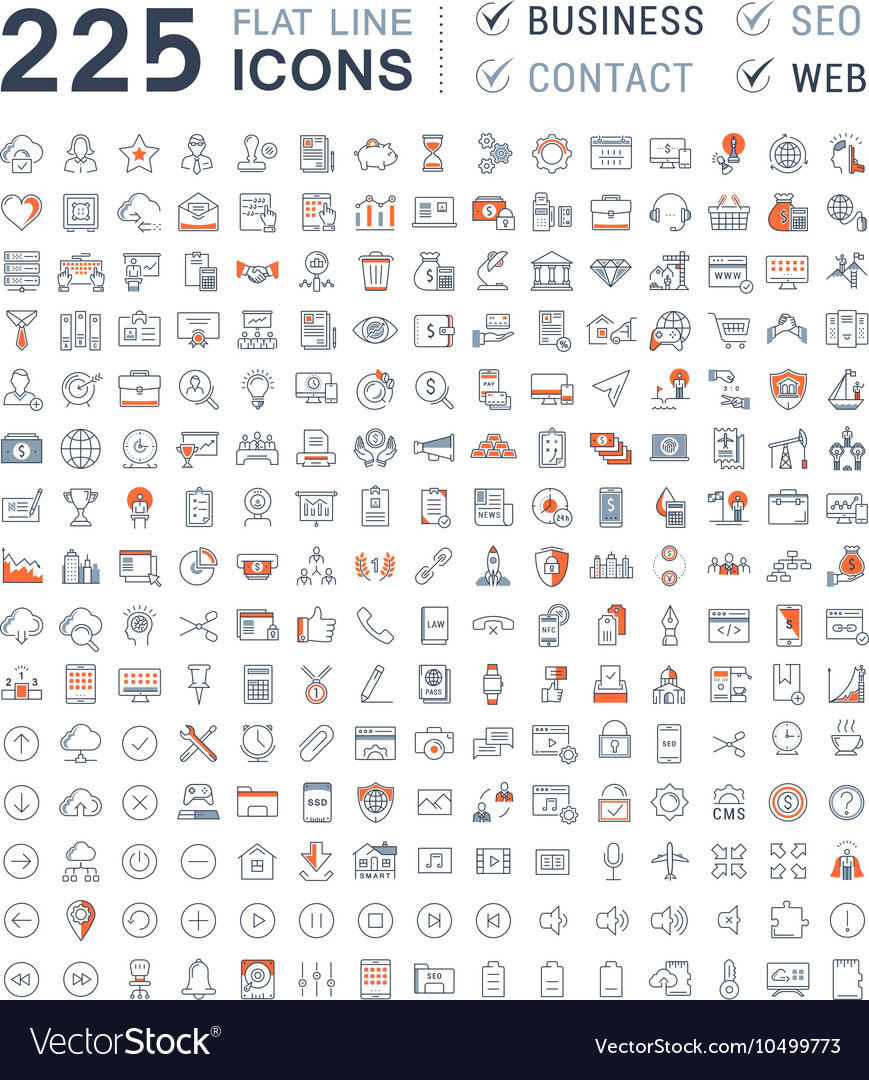 Set Flat Line Icons Business SEO WEB and Contact