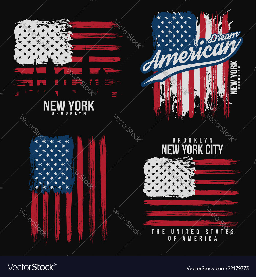 T-shirt graphic design with american flag and