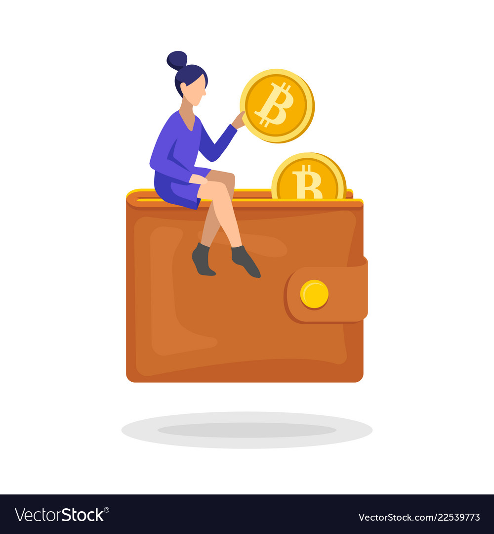 Woman putting a bitcoin in her wallet flat