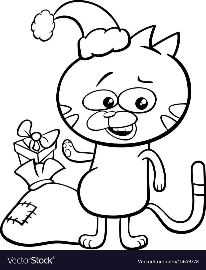 cat on christmas coloring book vector image