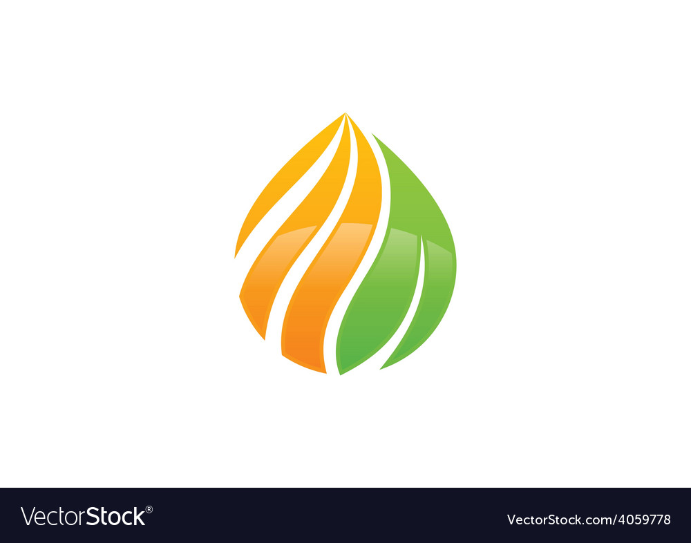 Eco Swirl Water Drop Symbol Logo Royalty Free Vector Image