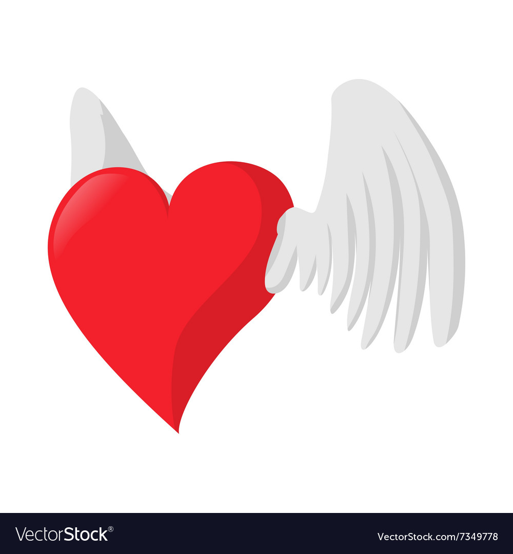 Heart with wings love cartoon icon