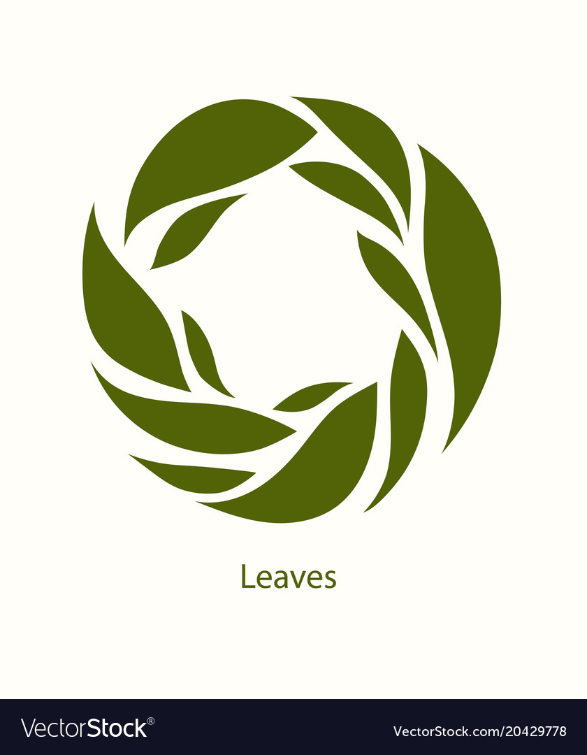 Leaves label abstract design round icon