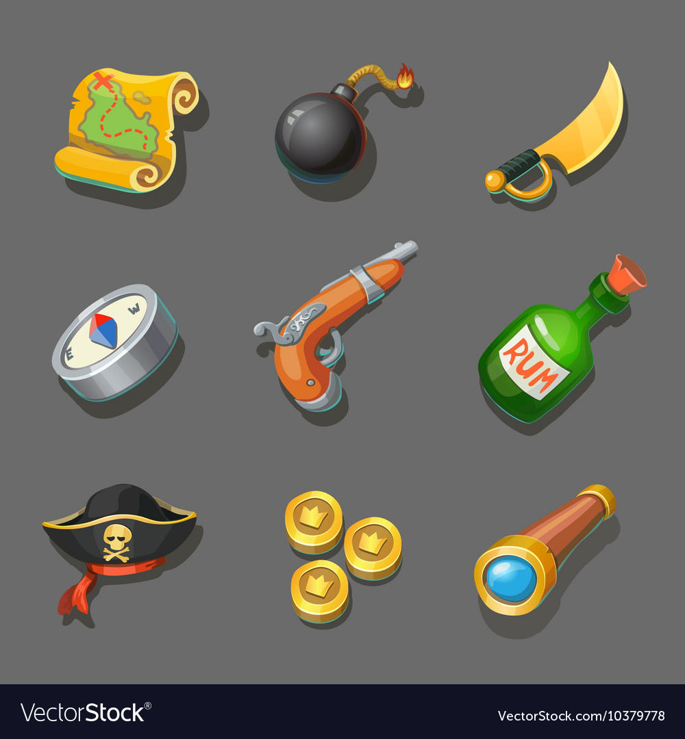 Pirate icons set Set of corsair items Different