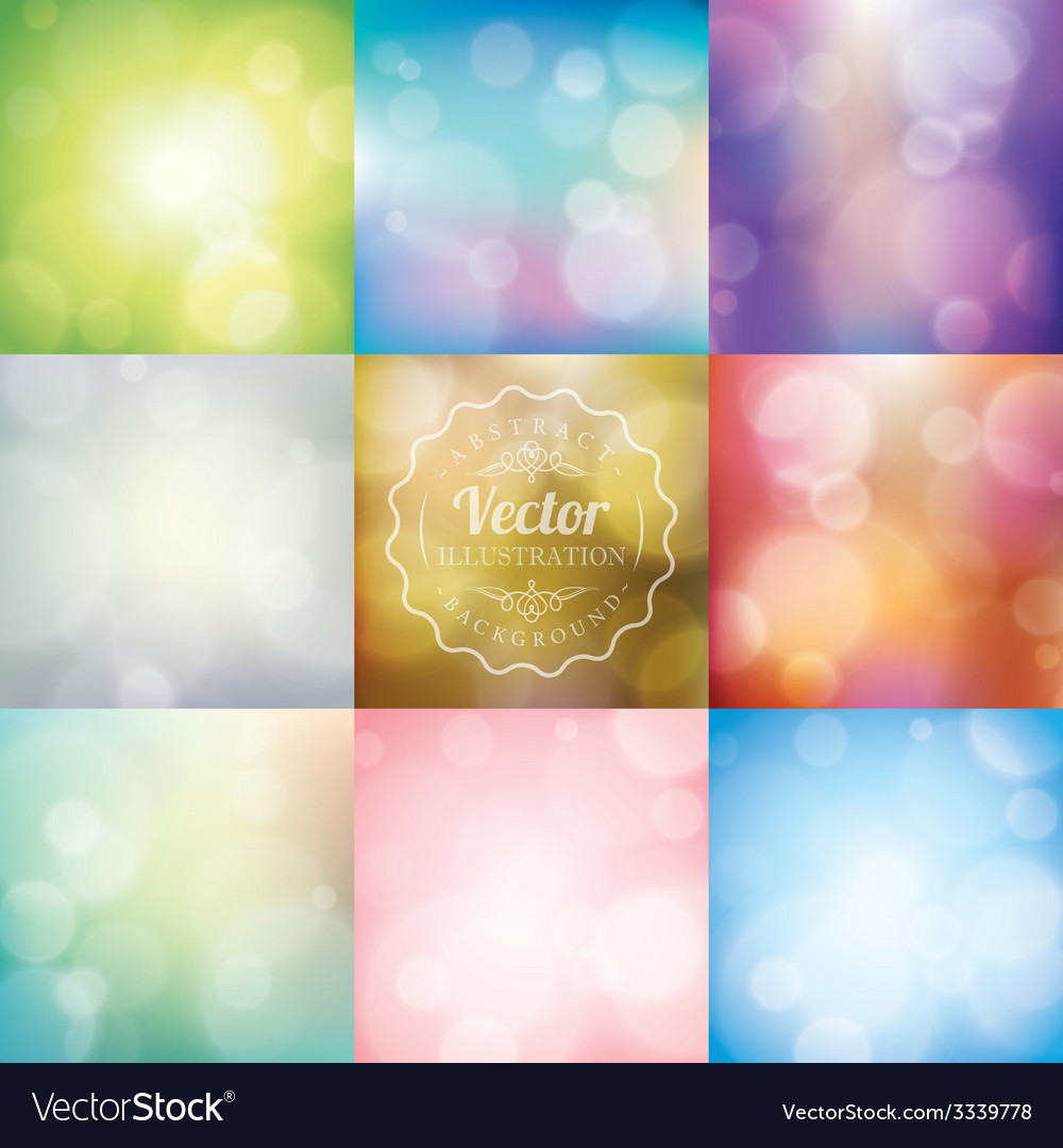 Set of Abstract blurred lights bokeh background