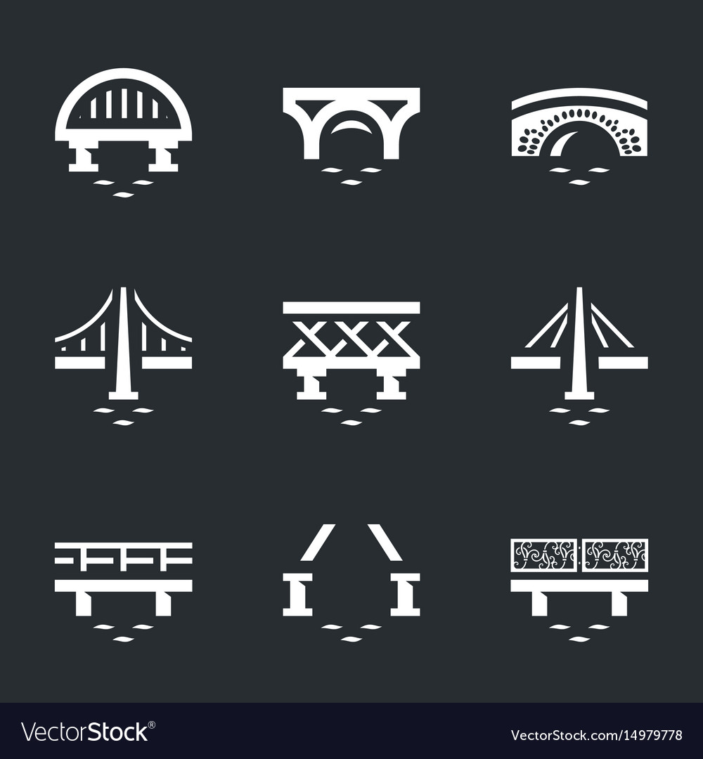 Set of various bridges icons vector image
