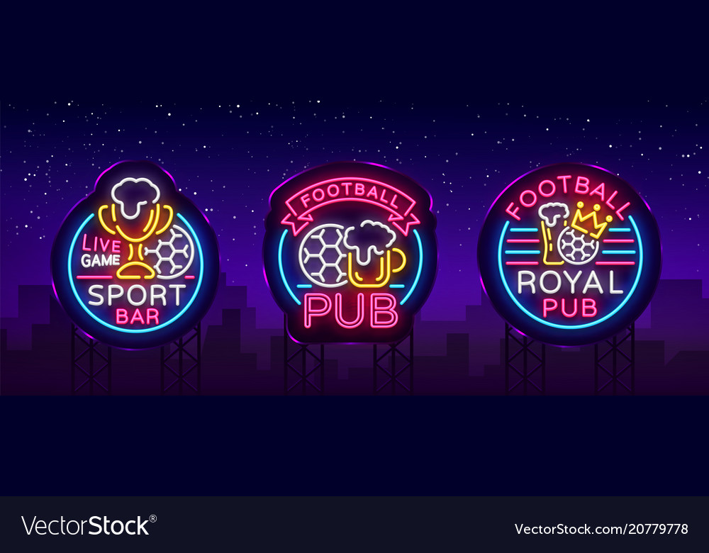 Sports bar collection of logos in neon style set