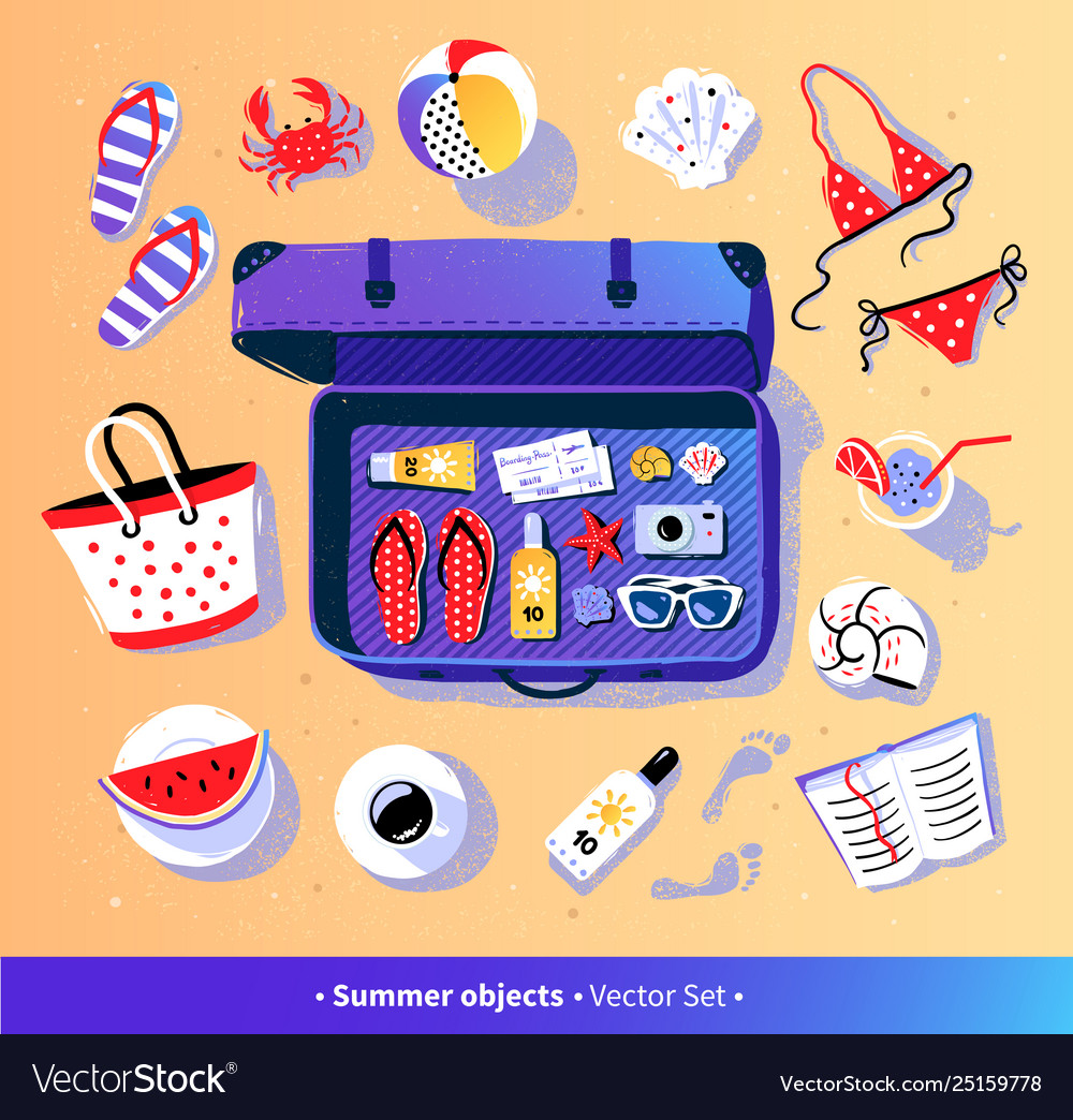 Summer vacation set with travel suitcase