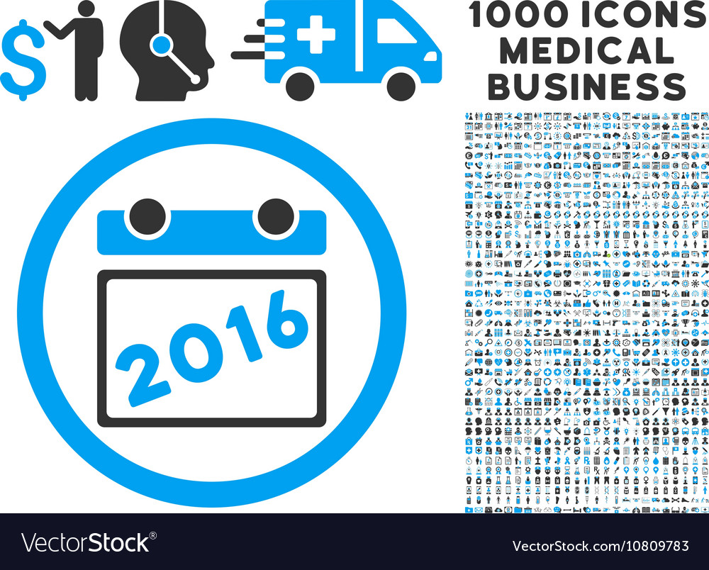 2016 Calendar Icon with 1000 Medical Business