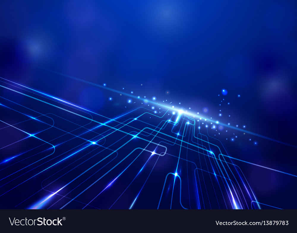 Abstract lines circuit lights technology digital vector image